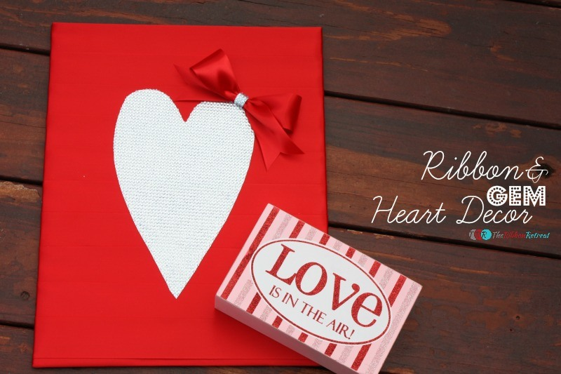 Ribbon and Gem Heart Decor