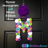 Flower Monogram with Wired Ribbon Bow