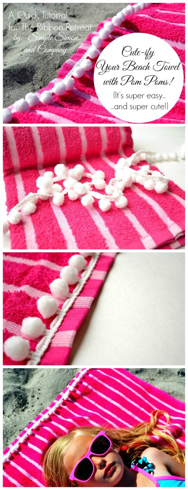 Beach Towel with Pom Poms - The Ribbon Retreat Blog