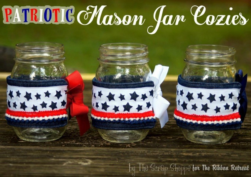 Patriotic Mason Jar Cozies - The Ribbon Retreat Blog