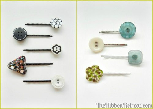 Button Bobby Pins - {The Ribbon Retreat Blog}