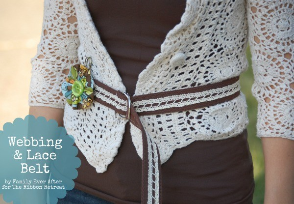 Use cotton webbing and lace for a cute belt.