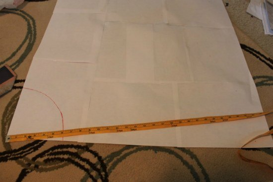 Measure the length for your circle skirt along the bottom of the pattern